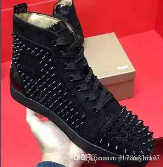 WholesaleRed inferior High Top Mulheres, homens sapatos Spikes Sapatilhas, Designer de Luxo Rebites planas Walking Shoes, vestido de festa de casamento 35-46