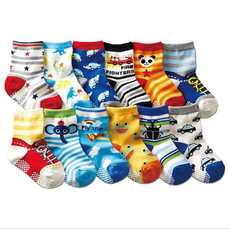 INS Kids Socks Cartoon Baby Boy Sock Cotton Newborn Socks Baby Girl Foot Warmer Car Panda Printed DHW1951