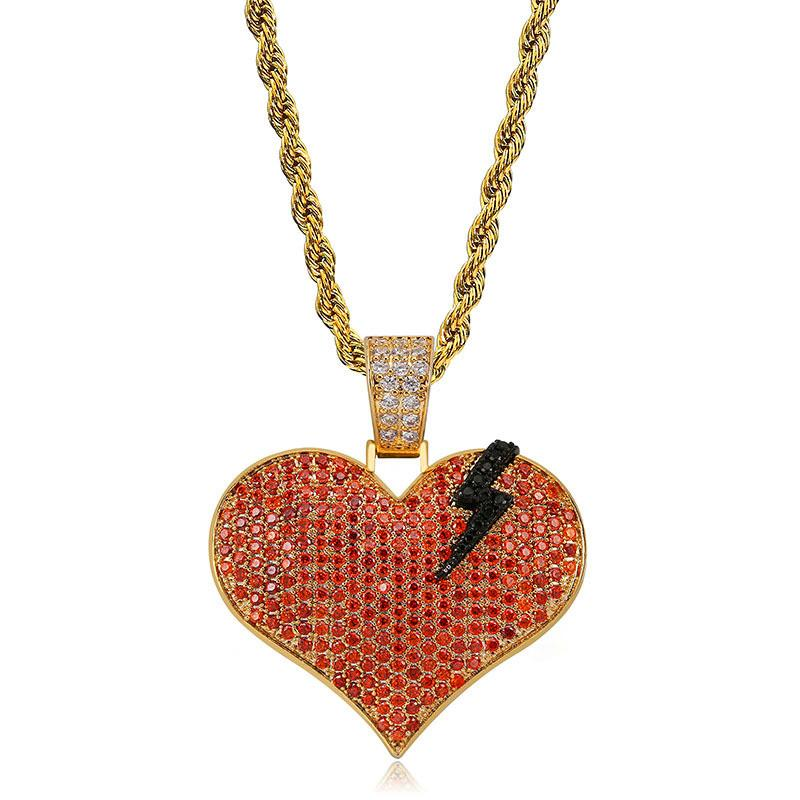 Iced Out Gold Jewelry Men Hip Hop Diamond Necklace Red Heart Love Pendant Bling CZ Mens Hiphop Necklaces