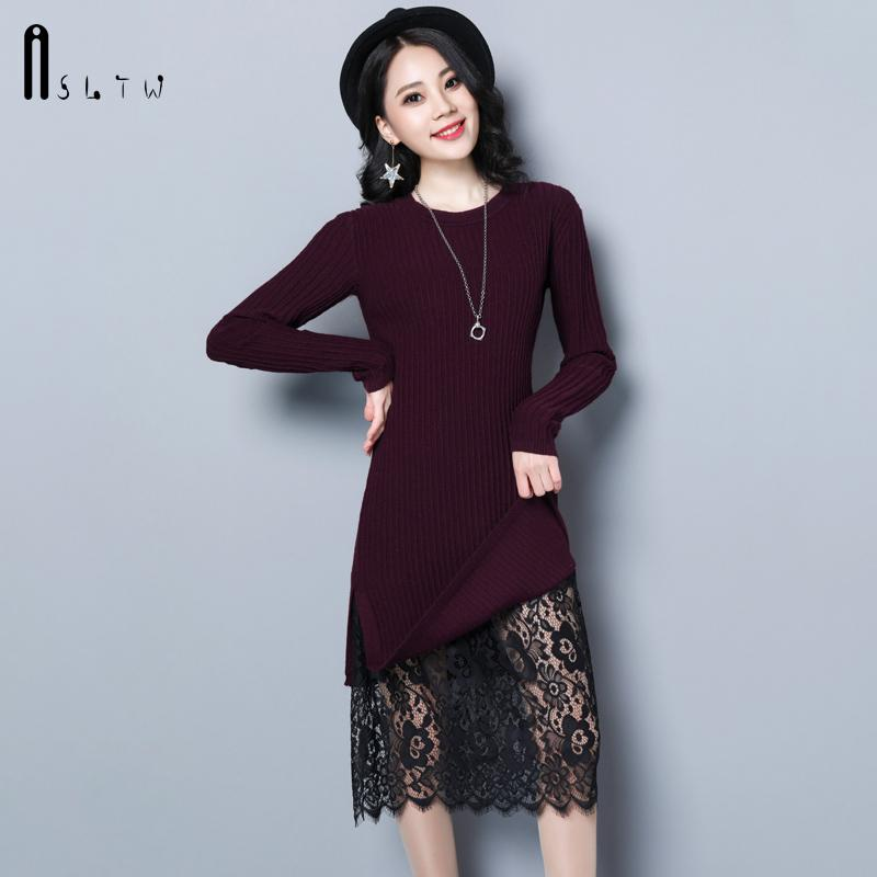 2019 ASLTW Long Sweater Dress For Women New Fashion Plus Size Long Sleeve  Lace Hem Lady\'S Sweater Solid O Neck Pullover Dress From Hannahao, $41.62 |  ...