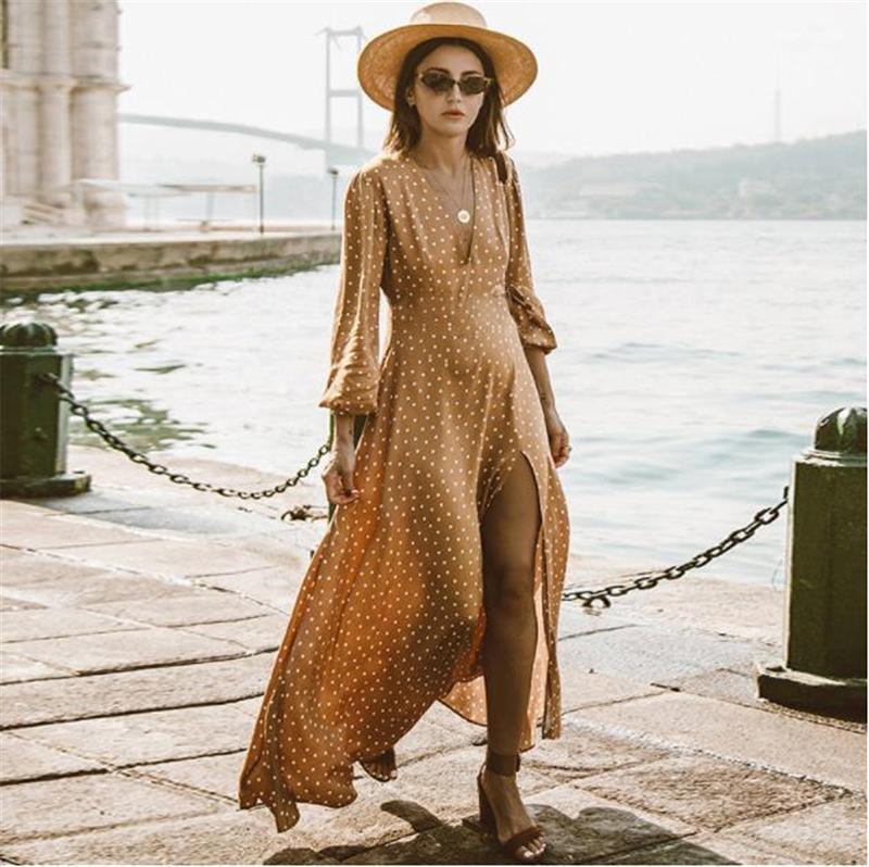 Yaz Elbiseler Kadın Giyim Kadın V Yaka Bölünmüş Seksi Maxi Elbiseler Polka Dot Print Uzun Kollu