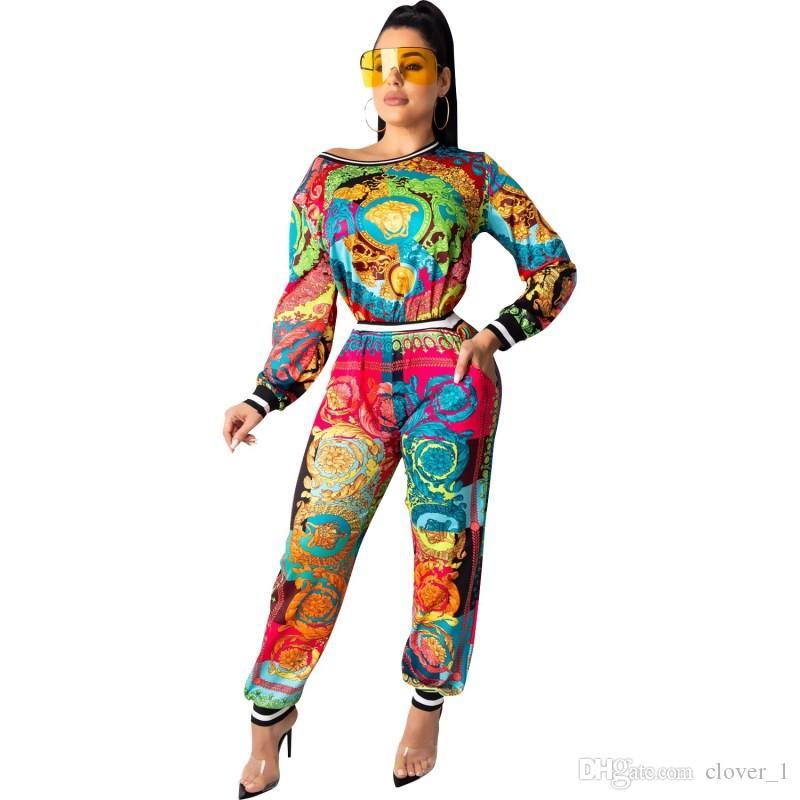Femmes tenues à manches longues Ensemble 2 pièces survêtement de jogging leggings chemise Sportsuit tenues pantalon sweat-shirt klw2384 femmes costume de vêtements de sport