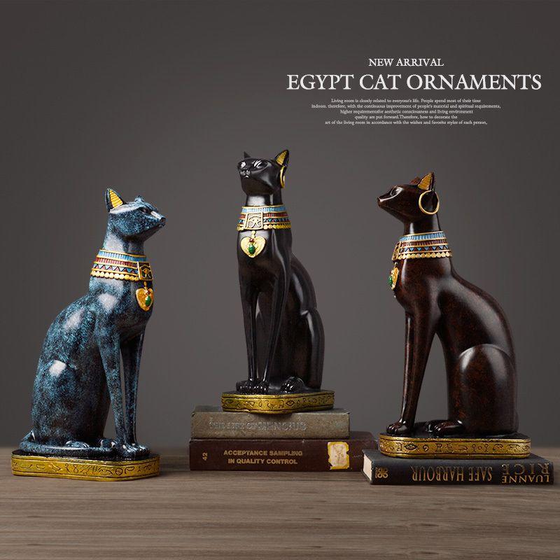 Египетская кошка смолы ремесло старинные домашний декор современный Винтаж Бастер богиня Бог фараон статуэтка статуя для украшения стола подарок T200331