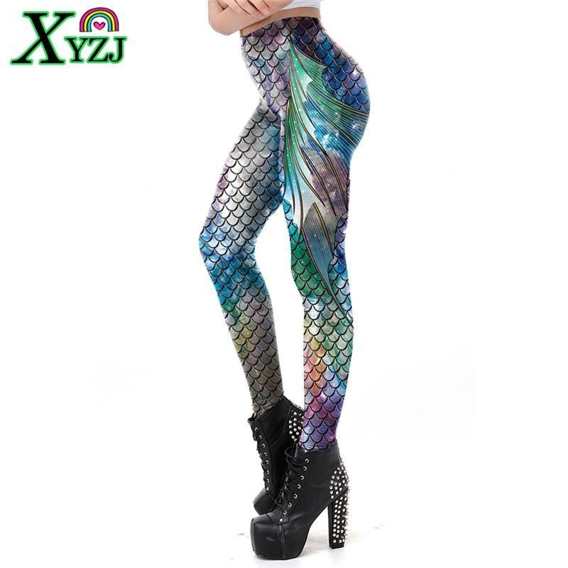 2019 Mode Meerjungfrau Skalen Gedruckt Workout Legging Bunte Fitness Leggins Plus Größe S-XL Slim Dance Hosen