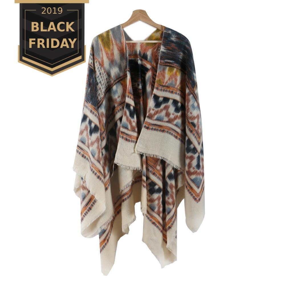 Bohemian Style Warm Women Poncho Scarf Blanket For Winter Cashmere Pattern Wraps And Knitted Geometric Female Shawl