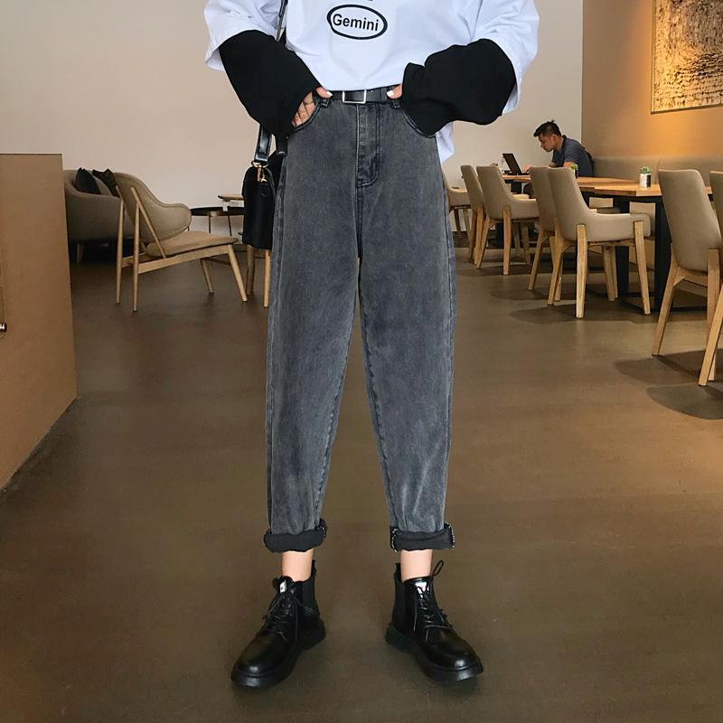 Compre 2020 Gris Negro Beige De Cintura Alta Mom Jeans De Mujeres Del Otono Del Resorte Sueltos Denim Jeans Pantalones Harem Para La Hembra Nueva Vaqueros Mujer A 27 56 Del Ario Dhgate Com