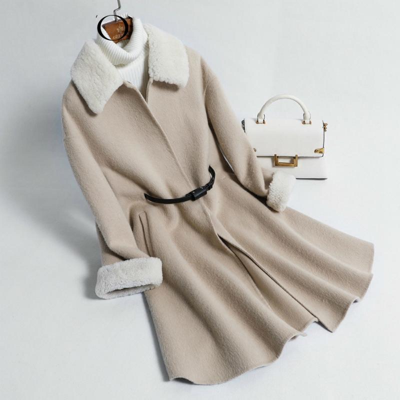 Abrigo de lana femenino de doble cara chaquetas de alpaca largo de las mujeres de cachemira Coats 2020 coreana otoño invierno chaqueta XFY325AY