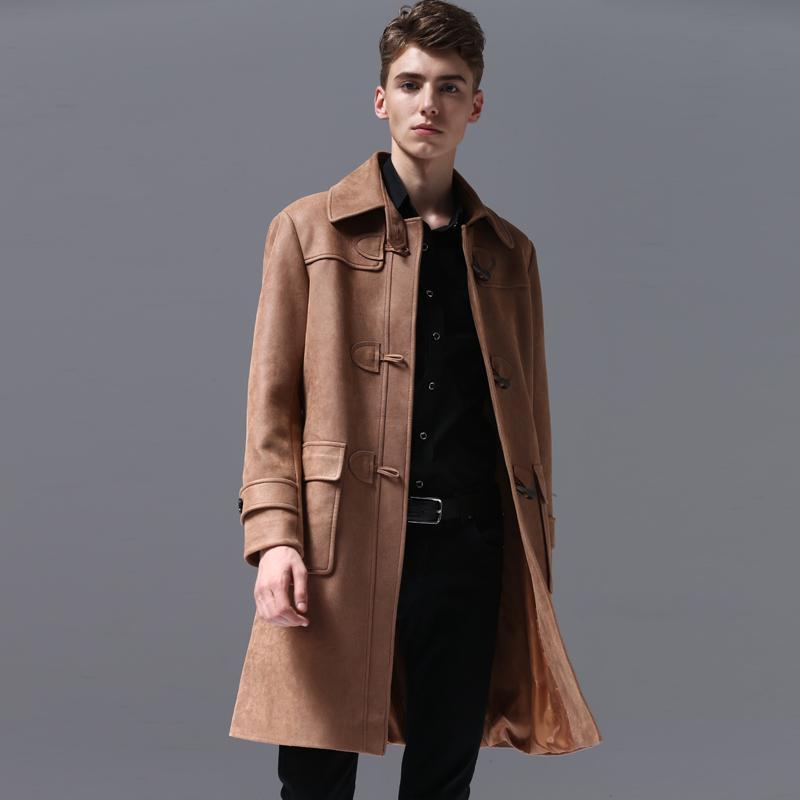 Markemens-Herbst-und Winter-Horn-Knopf Solid Color Chamois Long Jacket Man Plus Größe 6xl Gelegenheits Trenchcoat Männer