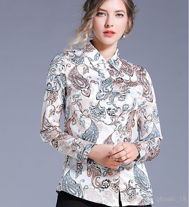 De calidad superior Plain Flora imprimir manga larga blanca blusas de mujer primavera moda verano camisas de las señoras