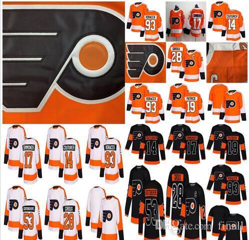 2019 Flyers de Philadelphie Hockey 28 Claude Giroux 17 Wayne Simmonds 53 Gostisbehere 93 Voracek 19 Nolan Patrick 14 Sean Couturier glace représentent le hockey