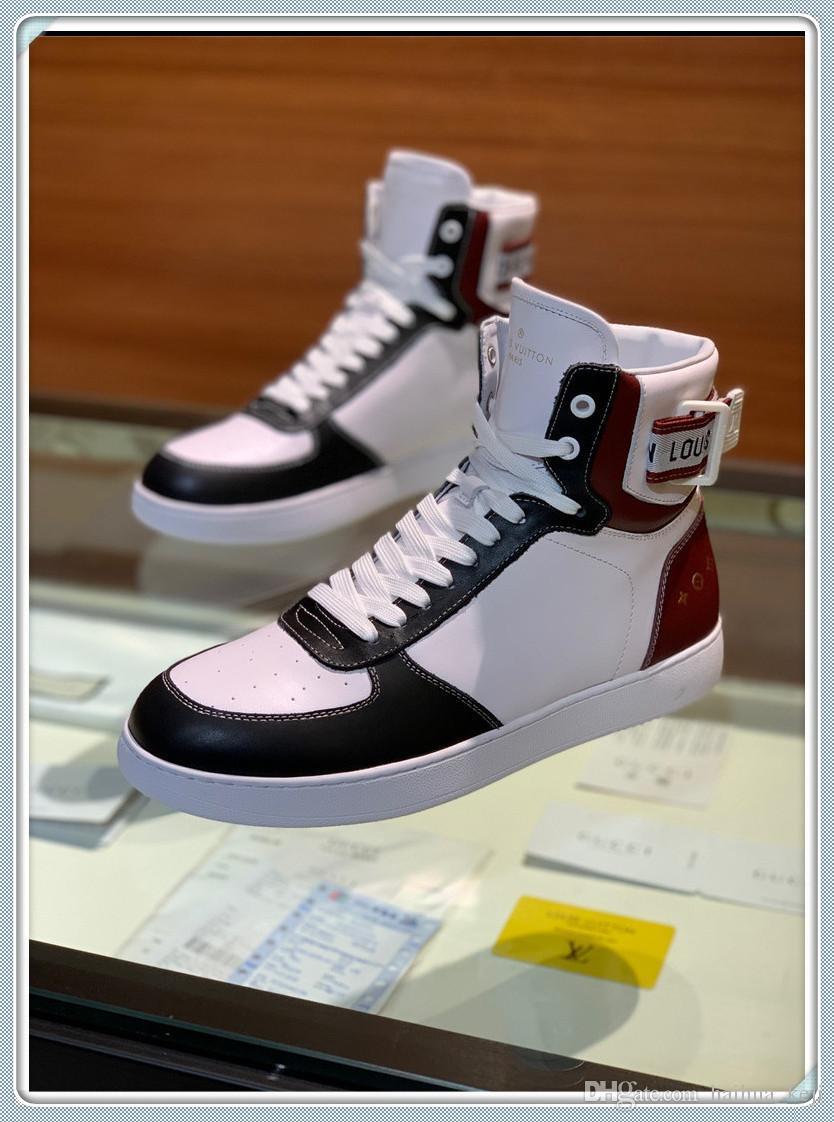 Высокое качество мужская обувь повседневная спортивная обувь моды верхней роскошь высокой верхней мужской шнурках Полуботинки оригинальная коробка для обуви