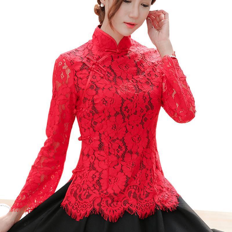 الصين الرباط الأحمر شيونغسام بلوزة أنيقة Qiapo قمصان كم طويل بلايز تشيباو الوطنية الصينية نمط الفنان خمر الملابس