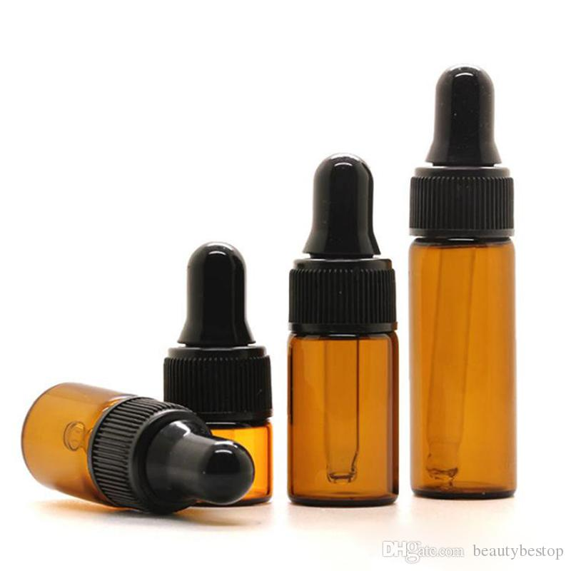 2000pcs/lot Mini Glass Vials Pipette Cosmetic Bottle 1ML 2ML 3ML 5ML Amber Glass Dropper Bottle For Sale
