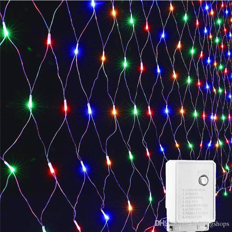 Открытый fairy garden string Led net light AC220V 3Mx2M 200LEDs свадьба Рождественская елка украшения освещение для крытый открытый