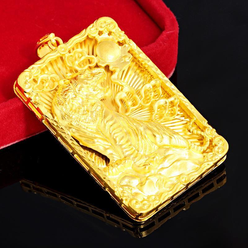 Regalo della collana della geometria Tiger Totem Big Pendente con la corda catena oro giallo 18K riempito Hip Hop Classic rock Mens Pendant