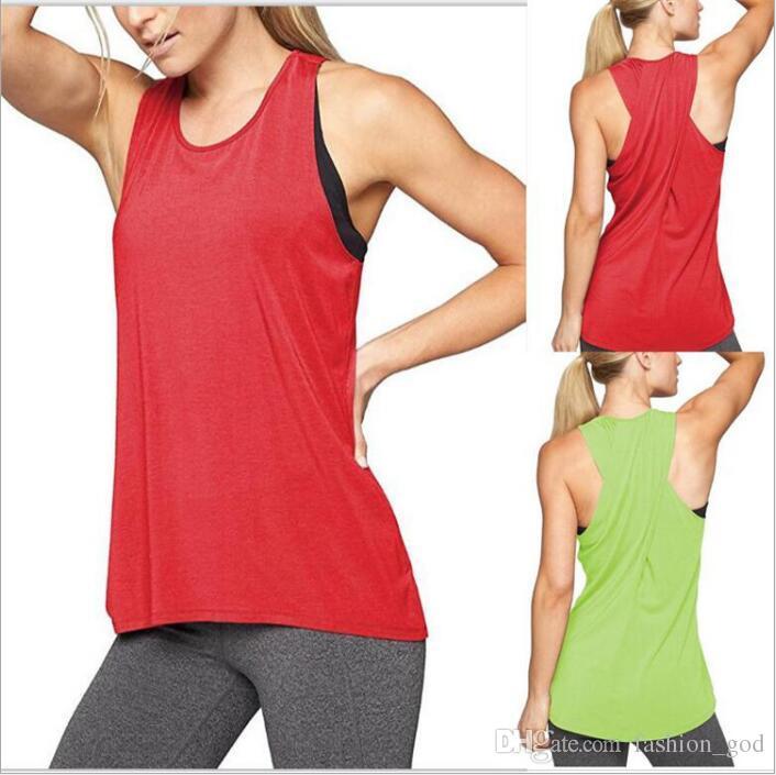 Roupas femininas Yoga Camis Fitness Tanques de Esportes de Verão Executar Mangas Sólidos Tees Moda Casual Tops Sexy Cross-back Blusas Vestidos B4774