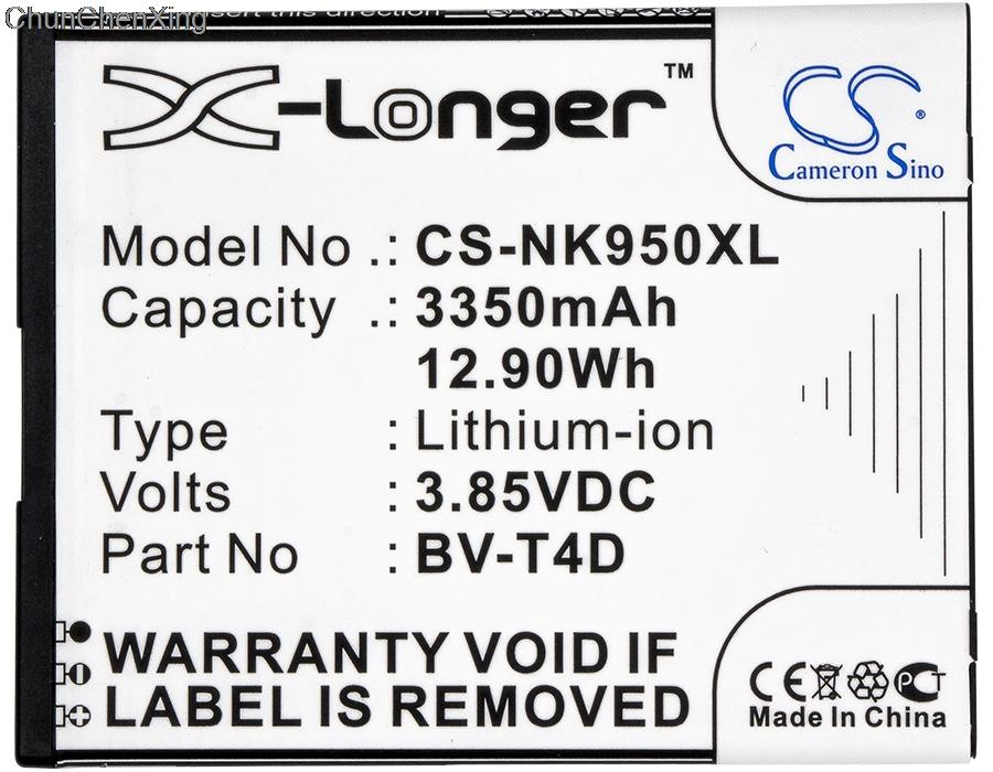 Batterie Cameron Sino 3350mAh BV-T4D pour Nokia Cityman, Lumia 950 XL et Lumia 950 XL Dual SIM