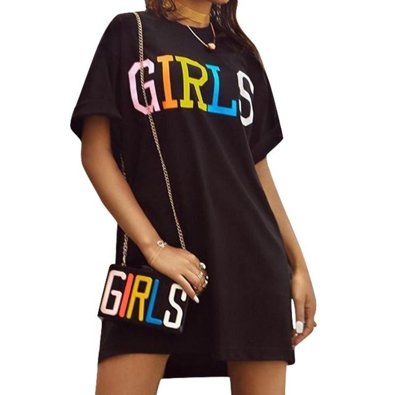 Kadınlar Düz Elbise Gökkuşağı Harfleri Baskılı Yaz Kısa Kollu Grafik Elbiseler O-Boyun Kore Harajuku Sokak T Gömlek Elbise