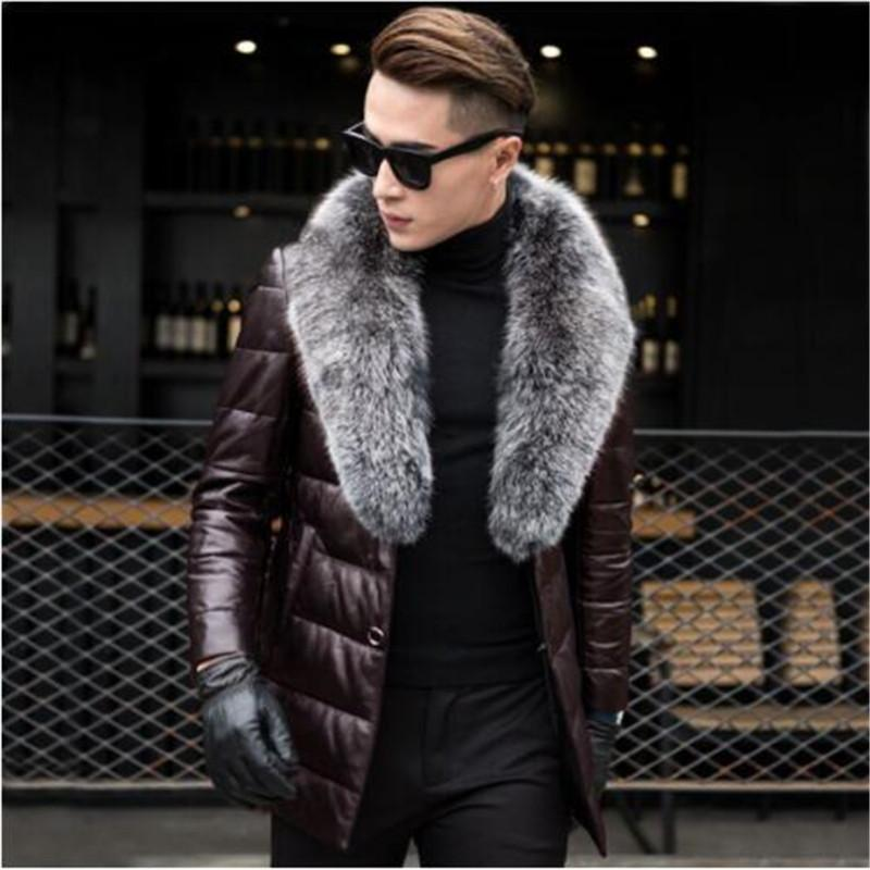 Genuine Leather Jacket Mens Duck Down Warm Winter Coat Fur Collar Plus Size 4XL Top Quality Parkas 2019 MF630