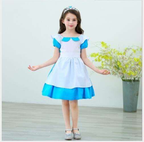 Nueva ins falda especial transfronteriza de los niños populares para el cumpleaños princesa de las muchachas del algodón de Halloween Alice falda 100-150cm