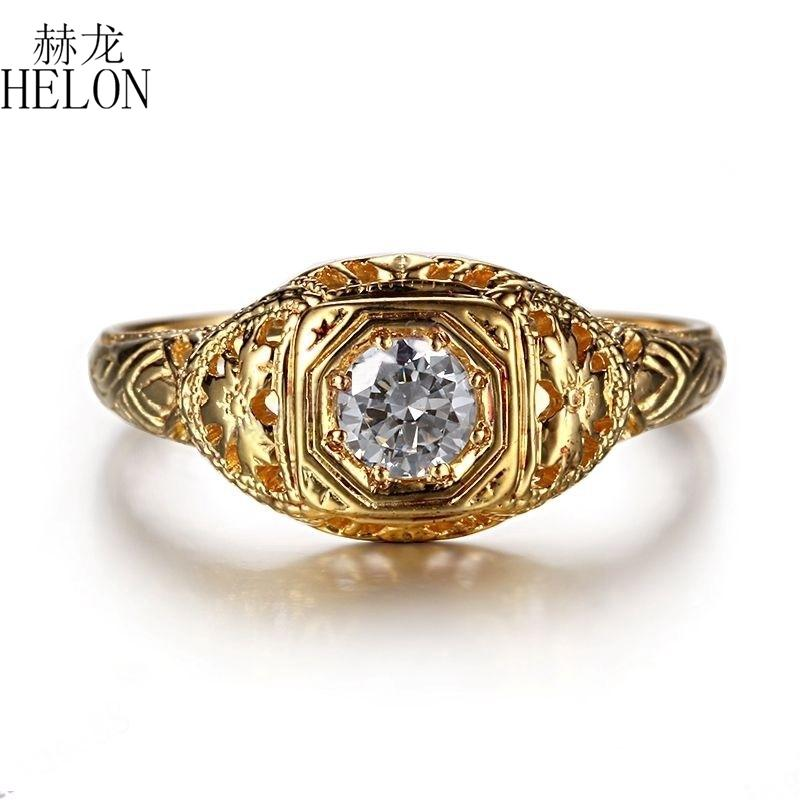 Helon Solid 10k Yellow Gold Lab Grown Diamond Engagement Ring 0.3ct Moissanites Vintage Classic Wedding Ring Jewelry Women Gift Y19052301