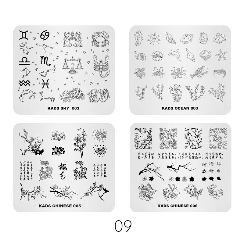 Sıcak Satış 4 adet / takım Nail Art Damgalama Şablon Çeşitli Çeşitleri Tasarım Manikür Görüntü Plaka DIY Tırnak Baskı Stencil Damgalama aracı