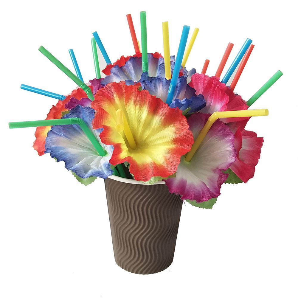 100-500Pcs Umbrella Parasol Drinking Straws Hawaiian Hula Beach Party Decor US