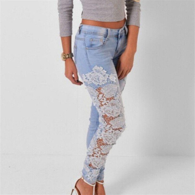 Plus Size Womens Carve Flower Crochet Jeans Slim Lace Pencil Skinny Female Feet Pants Stretch Denim Hollow Clothes XXXL