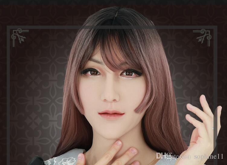 Silicone Artificial Realistic Shemale Mas Mask Latex Sexy Cosplay per Crossdresser Halloween Transgender Masks Maschera realistica