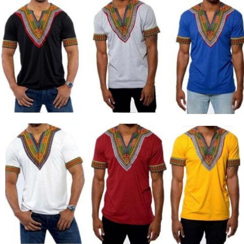2020 roupa Africano Mens Dashiki Estilo Printing Cotton Tops Man Camiseta