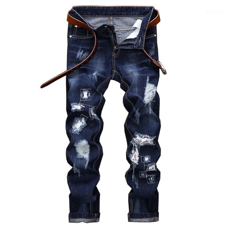 جودة عالية العلامة التجارية الأصلية رجل الجينز مصمم الأزياء بالأسى ممزق جينز الرجال مستقيم صالح الدينيم السراويل التطريز 1