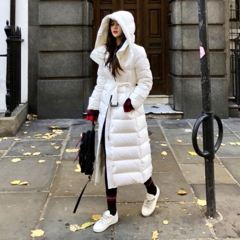 90% pato blanco abajo capa de la chaqueta con capucha para la Mujer de Down Parka Ropa capa de las mujeres impermeables 2019 chaqueta de invierno de las mujeres largas densamente