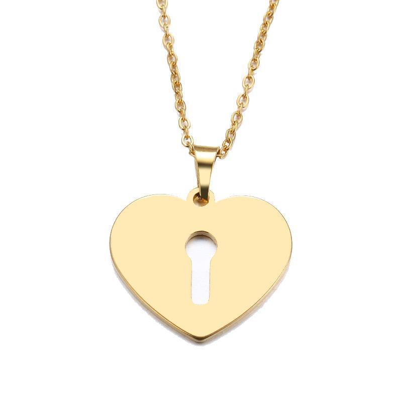 Üst Kalite Paslanmaz Çelik Kolye için Kadınlar Man Severlerin Kalp Kilidi Altın Ve Gümüş Renk kolye kolye Nişan Takı Kadın