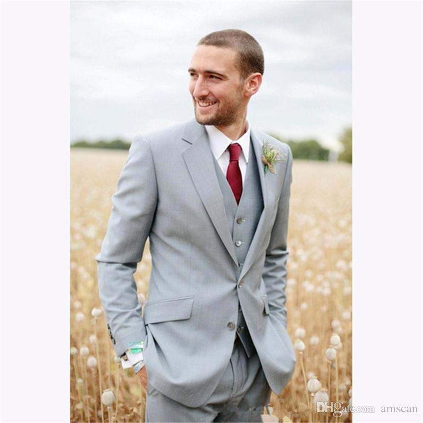 2019 Best Sell Light Gray Two Buttons Notch Lapel Groom Mens Suit Tuxedos Groomsmen Wedding Suits for Men ( Jacket+Pants+Vest) ZQ