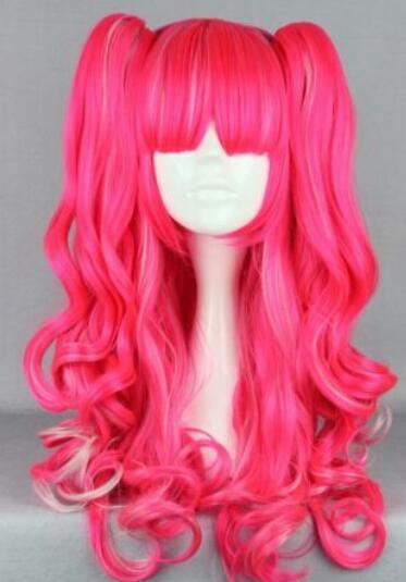 SPEDIZIONE GRATUITA + + Vendita superiore Lolita Long Curly Style Girls Girls Lovely Red Cosplay Wig 2 coda di cavallo