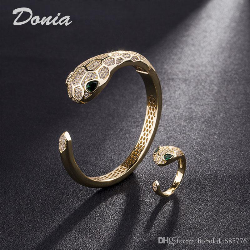 Donia Schmuck europäische und amerikanische Mode Übertreibung Klassisches Tier Mikro Inlay Zirkonia Armband-Ring-Set Damen-Armband Ring birthda