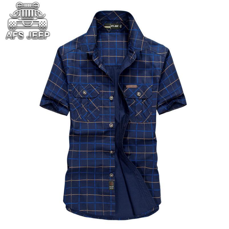 Tamaño suelto 5xl Camisas hombre 2018 Verano Afs Jeep Brand Ropa Camiseta Masculina Plaid 100% algodón de manga corta camisa de hombre