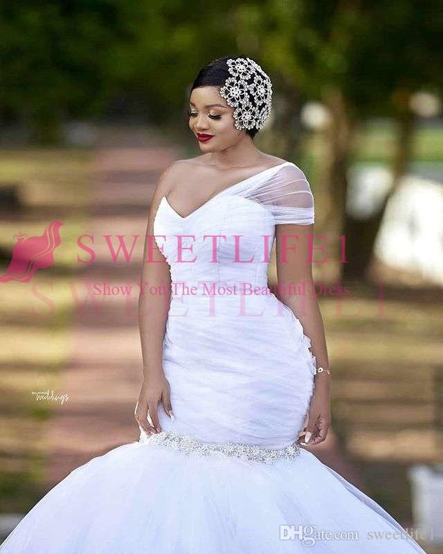 2019 Charming One Shoulder Wedding Dresses Plus Size Crystal Mermaid Country Wedding Bridal Gown Custom Made