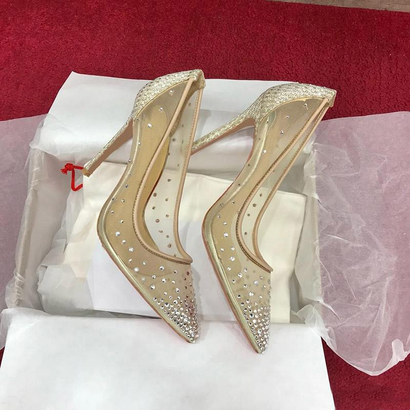 2020 Spring Womens High Heels Point Toe Brand Red Bottom Sandals Mesh Suede With Bling Rhinestones Lady Wedding Party Dress With Boxes