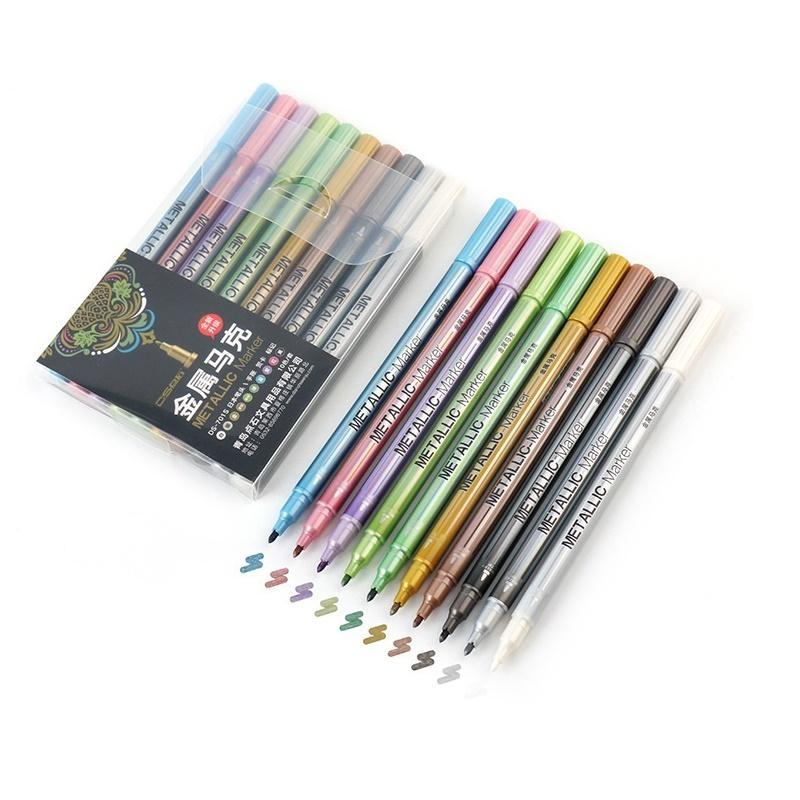 10pcs قلم معدني اللون اللون القلم set 1-2mm Fine Point Liner pens for Drawing Paint Letering Design Calligraphy F924