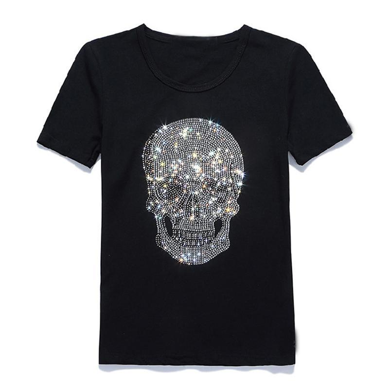 New Women Shinning Skull Hot Drilling T-shirt Black Cotton Short Sleeve High Quality Rhinestone Print Skull T Shirt Top Tees Y19072001