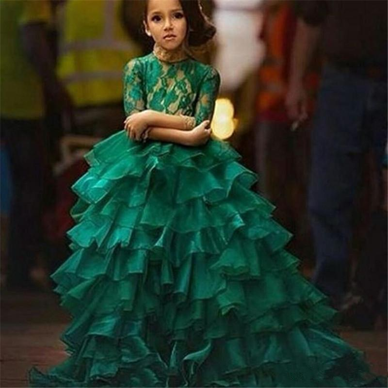 Ball Gown Green Girls Pageant Dress Lace 3/4 Long Sleeves Kids Ruffles Tiered Skirt Birthday Party Gowns Prom Dress Custom Size