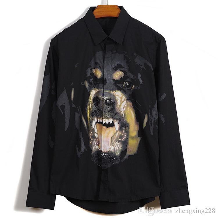 Europe Amérique 2019 Nouveau Style Hommes 3D Imprimé Rottweiler Tête De Chien T-shirt À Manches Longues Casual Shirt Noir