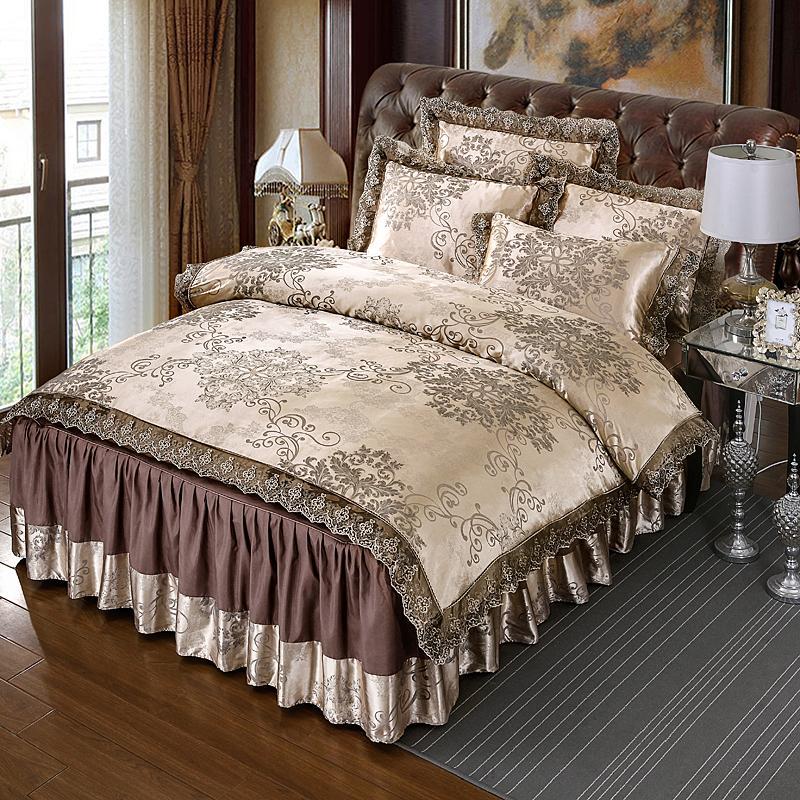 4 Pcs Jacquard de cetim conjuntos de cama de renda de luxo rainha king size capa de edredão conjunto de saia saia conjunto fronha roupa de cama