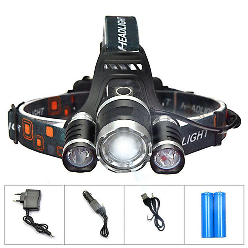 3T6 Farol de 6000 lúmens 3 x Cree XM-L T6 Cabeça Lâmpada de Alta Potência LED Farol Cabeça Tocha Lâmpada Lanterna Cabeça + carregador + carregador de carro