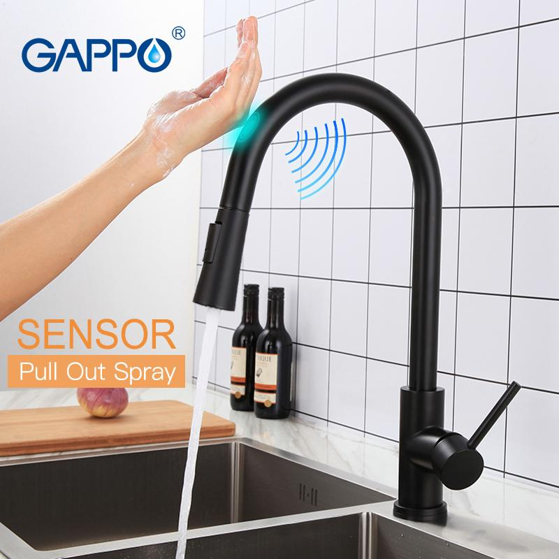 GAPPO Stainless Steel Touch Control Kitchen Faucets Smart Sensor Kitchen Mixer Touch Faucet for Kitchen Pull Out Sink TapsY40112 T200423