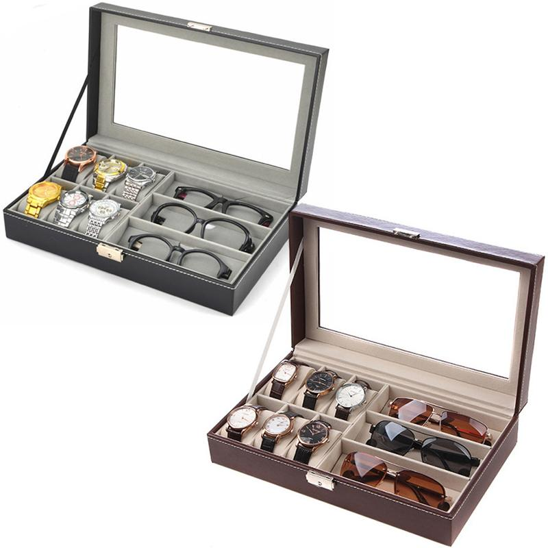 New 2 Colors Leather 6 + 3 Watches Box Glasses Storage Collection Display Box PU Watch Glasses Case