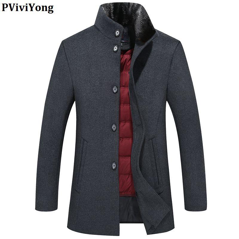 PViviYong 2019 new arrival winter high quality wool trench coat men,down jacket liner fur collar jacket men 8865