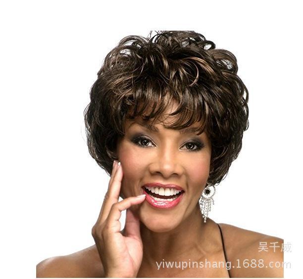 Comercio Exterior de la peluca de una generación de europeos y americanos Negro peluca animado oblicuo flequillo corto señora Hair