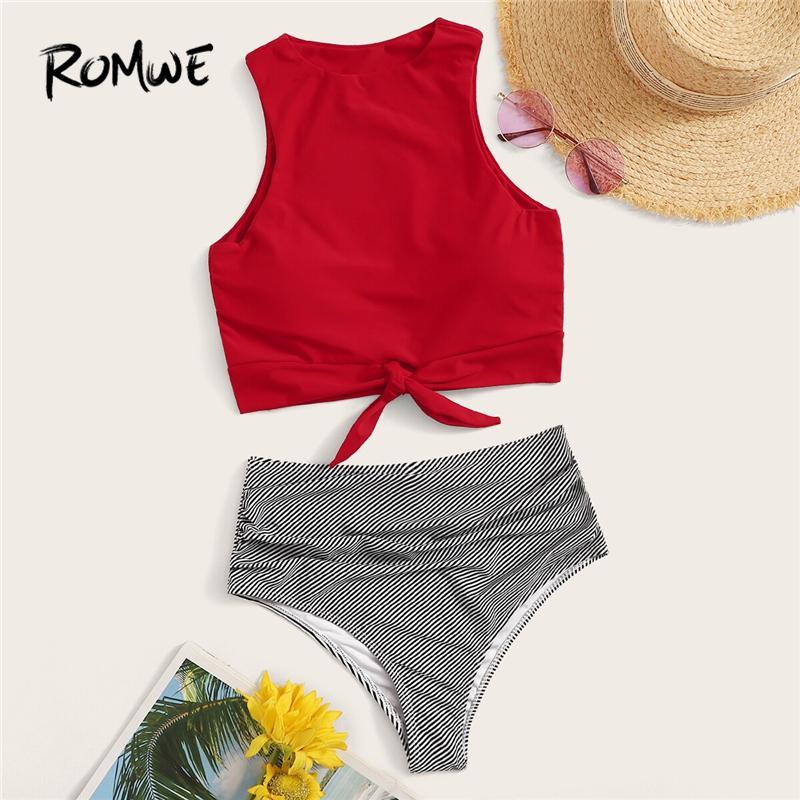 Romwe Sport Bikinis Set Noeud Ourlet Top Avec Bas Rayé Froncé Taille Maillot De Bain Femmes Été Taille Haute Maillot De Bain Sans Maillot De Bain Y19062901